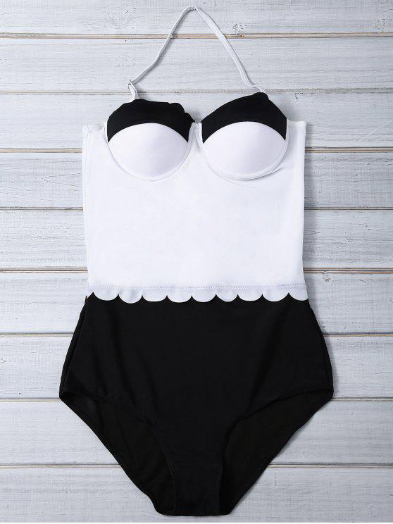 unique Color Block Halter Push Up Swimwear - WHITE AND BLACK L