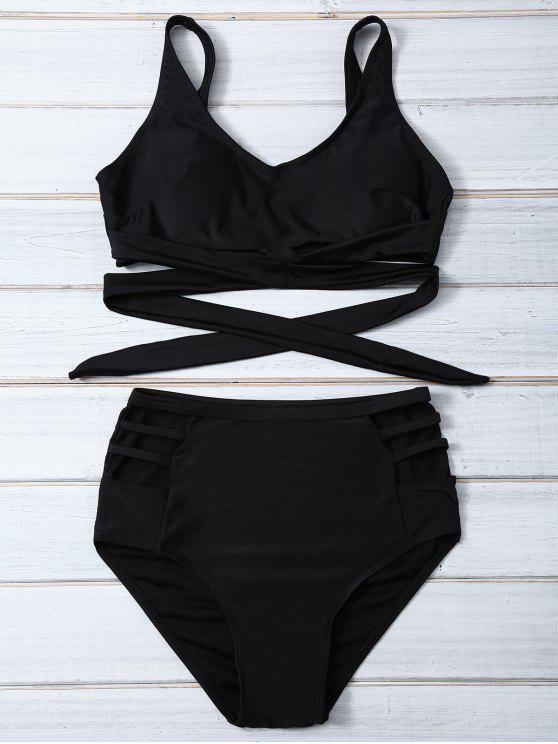 291a86ee078 26% OFF] 2019 Bandage High Waist Bikini Set In BLACK | ZAFUL