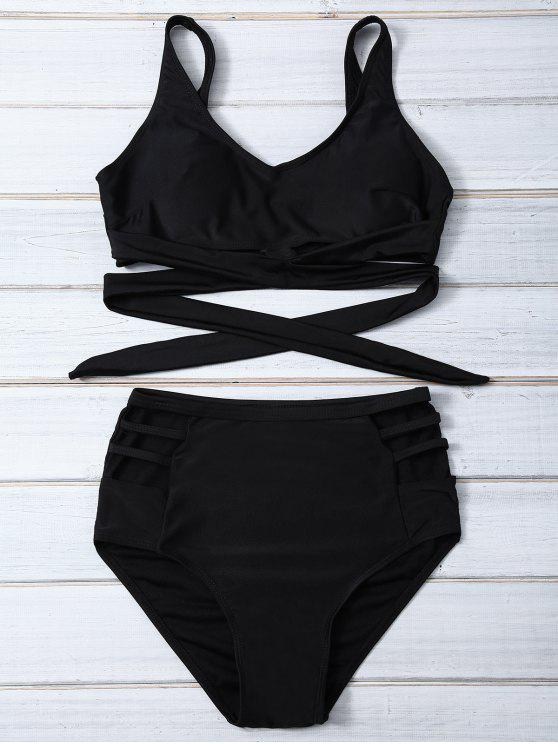 women Bandage High Waist Bikini Set - BLACK S
