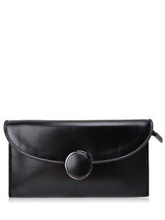 Waxed Leather Flapped Clutch Bag - Black