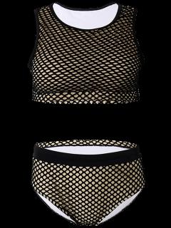 High Waist Grid Panel Swimwear Set - Black Xl