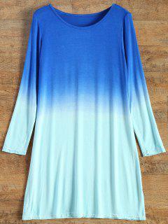 Robe T-Shirt  En Couleur Dégradé Aux Manches Longues - Turquoise Xl