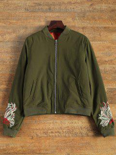 Lined Embroidered Bomber Jacket - Army Green M