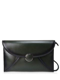 Waxed Leather Envelope Clutch Bag - Green