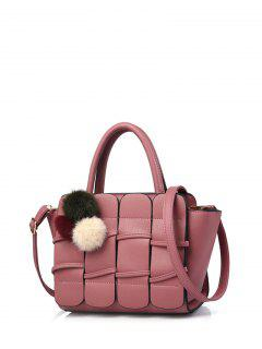 Patches Winged Pompon Detail Handbag - Peony Pink