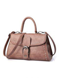 Stiching Buckle Strap Handbag - Pink