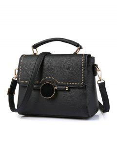 Flapped Rivet Textured Handbag - Black