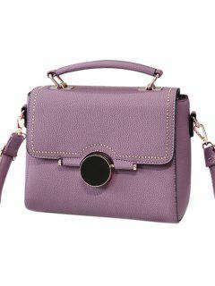 Flapped Rivet Textured Handbag - Purple