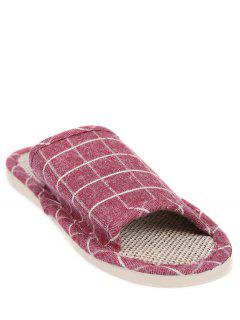 Linen Color Block Plaid House Slippers - Claret Size(39-40)