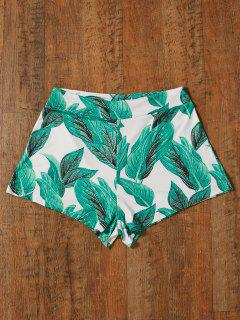 High Waisted Tropical Print Shorts - Green 2xl