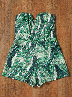 Bustier Tropical Print Romper - Vert S