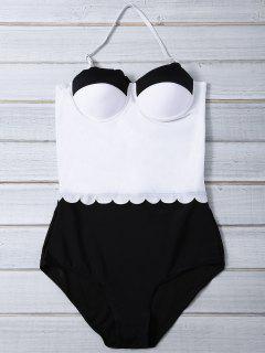 Color Block Halter Push Up Swimwear - White And Black L