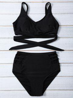 Bandage High Waist Bikini Set - Black Xl