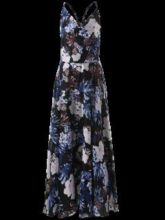 Vintage Cut Out Floral Dress - Blue S