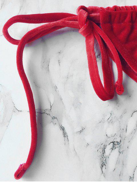 best Velvet String Bikini Swimwear - RED M Mobile