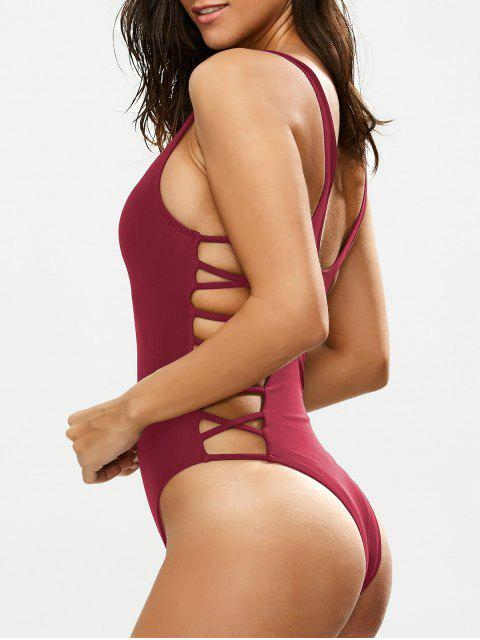 unique Crisscross Strap Cut Out Swimsuit - BURGUNDY L Mobile