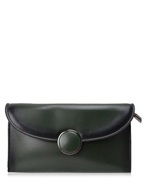 chic Waxed Leather Flapped Clutch Bag - GREEN  Mobile