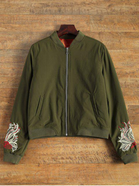 trendy Lined Embroidered Bomber Jacket - ARMY GREEN M Mobile