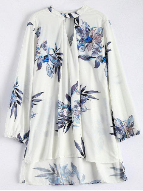 lady High Low Flower Print Tunic Blouse -   Mobile