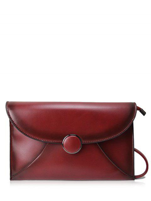 sale Waxed Leather Envelope Clutch Bag - CLARET  Mobile