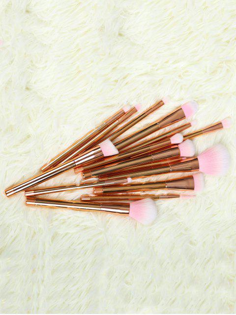 Ensemble de 15 brosses de maquillage en fibre - Or Rose  Mobile