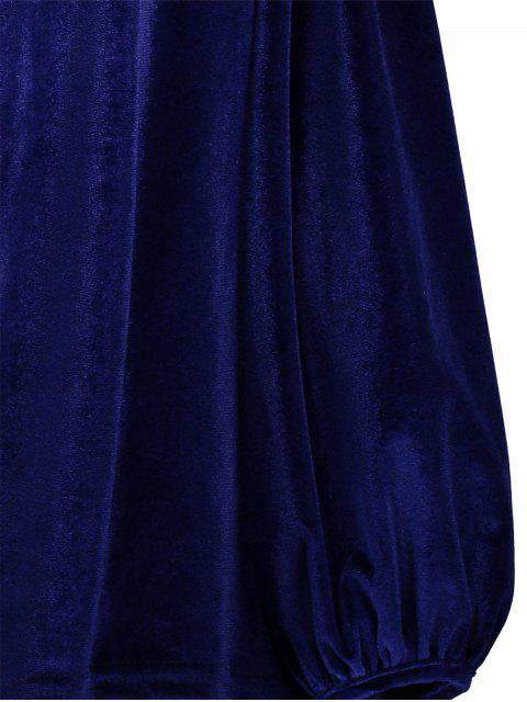 lady Spaghetti Straps Cold Shoulder Velvet Top - ROYAL XL Mobile