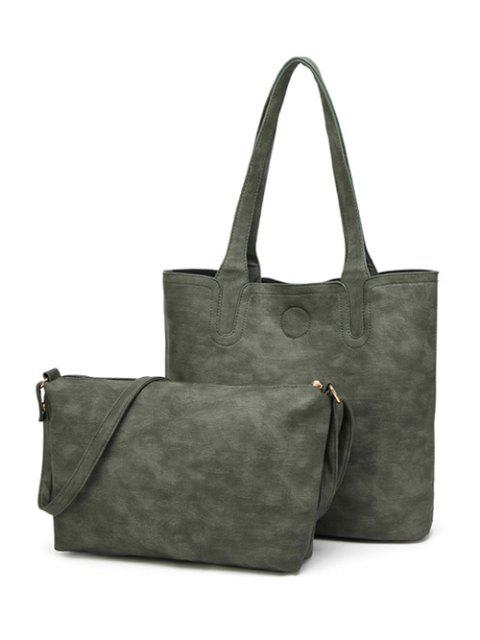 women Casual Tote Bag with Interior Bag - GREEN  Mobile