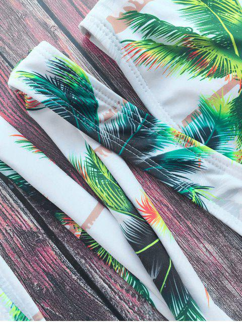 women Palm Tree Print Crossover Bikini Set - WHITE L Mobile