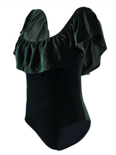 shop Off The Shoulder Flounced Velvet Swimwear - BLACKISH GREEN M Mobile