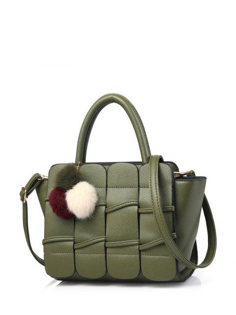 lady Patches Winged Pompon Detail Handbag - GREEN  Mobile