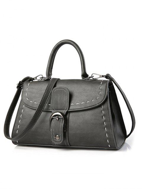 shop Stiching Buckle Strap Handbag - DEEP GRAY  Mobile