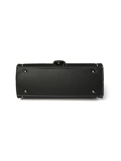 shop Stiching Buckle Strap Handbag - DEEP GRAY  Mobile