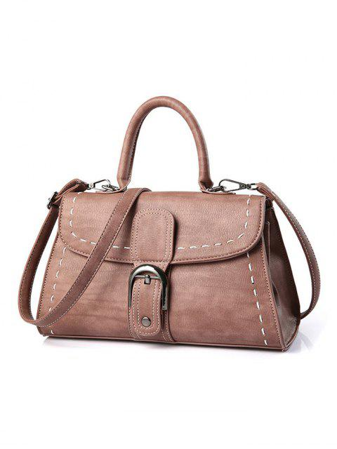 latest Stiching Buckle Strap Handbag - PINK  Mobile