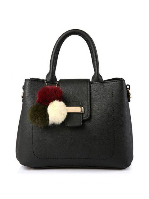 fashion Faux Leather Handbag with Pom Pom - BLACK  Mobile