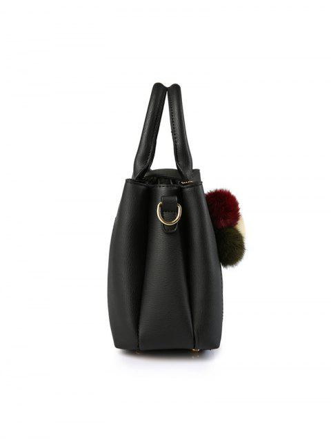 unique Faux Leather Handbag with Pom Pom - ARMY GREEN  Mobile