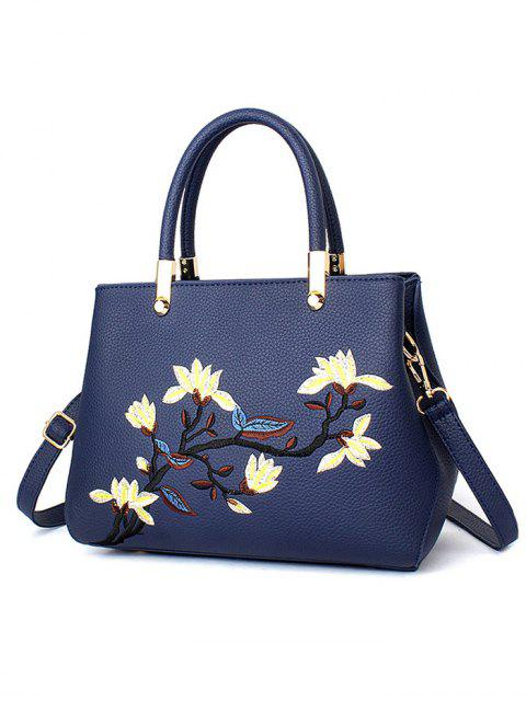 buy Flower Embroidered Metal Detail Handbag -   Mobile
