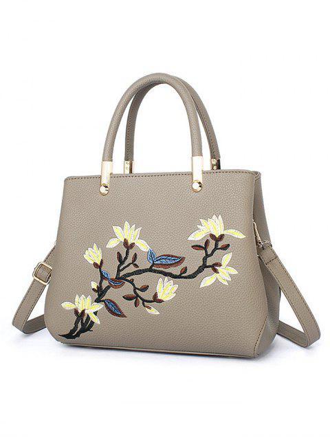 womens Flower Embroidered Metal Detail Handbag -   Mobile