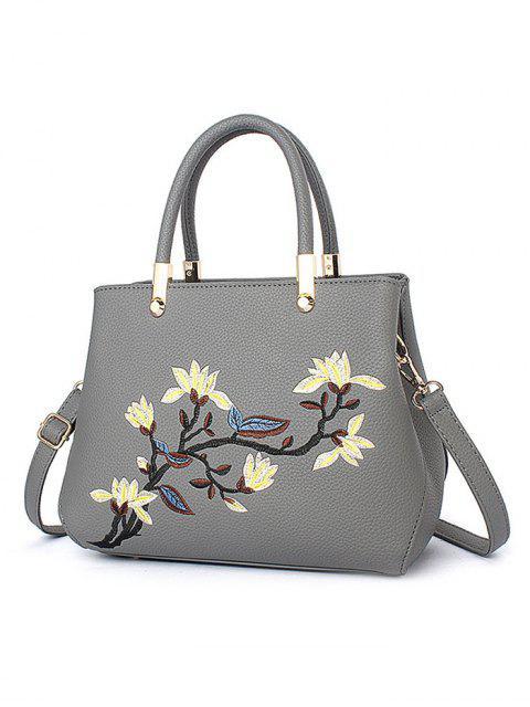 women's Flower Embroidered Metal Detail Handbag -   Mobile