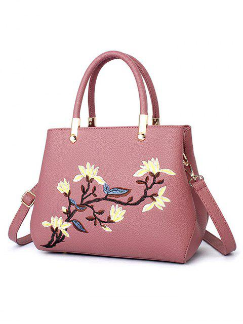 ladies Flower Embroidered Metal Detail Handbag -   Mobile