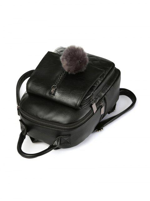 online Quilted Panel Backpack with Pom Pom - BLACK  Mobile