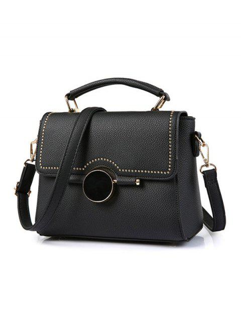 best Flapped Rivet Textured Handbag - BLACK  Mobile