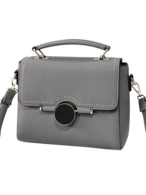 new Flapped Rivet Textured Handbag - GRAY  Mobile