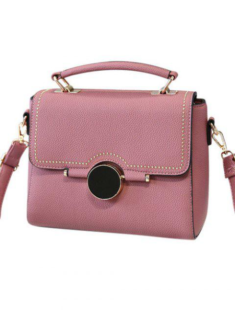 outfit Flapped Rivet Textured Handbag - PEONY PINK  Mobile