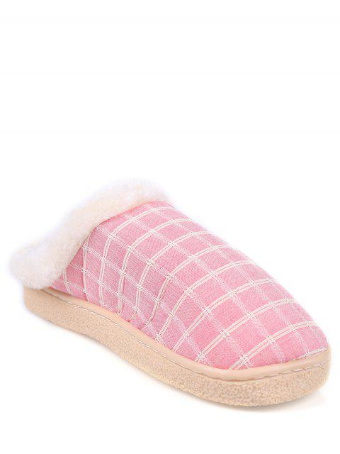 hot Checked Falt Heel Faux Fur House Slippers - PINK SIZE(40-41) Mobile