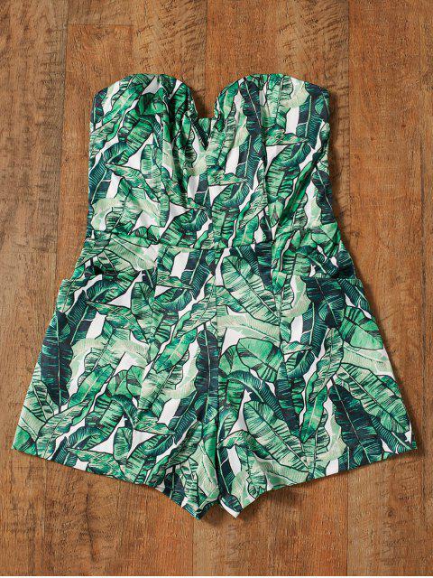 women Strapless Tropical Print Romper - GREEN XL Mobile