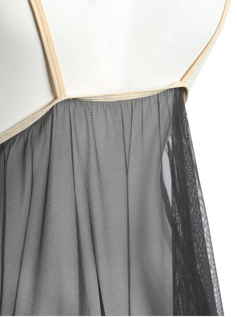 ladies Lace Panel Layered Sheer Babydoll - GRAY ONE SIZE Mobile