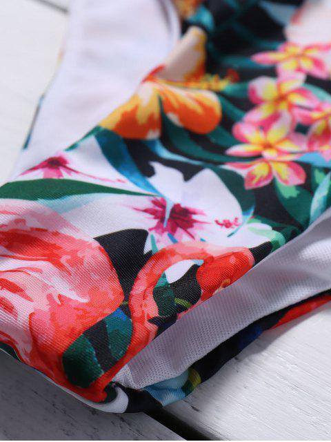 buy Cutout Lace-Up Floral Bikini Set - GREEN XL Mobile
