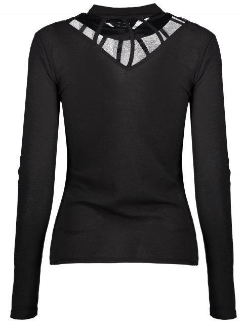 lady Mesh Panel Fitted Choker T-Shirt - BLACK L Mobile