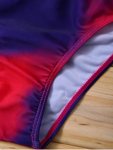 fashion Halter Tie Dye Bikini Set - PURPLISH RED M Mobile