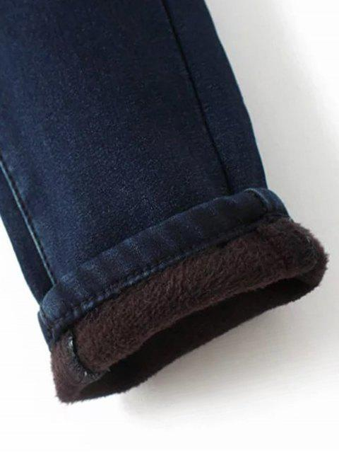 women's Super Elastic Wool Blend Pencil Jeans - DEEP BLUE S Mobile